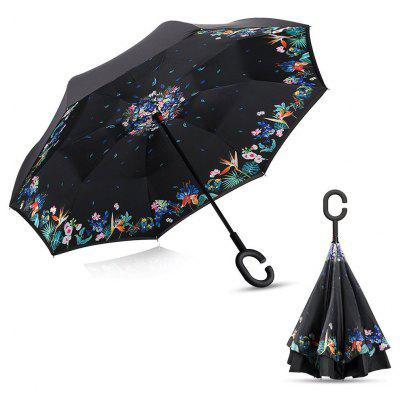 Floral Print Windproof Inverted Double-layer Umbrella