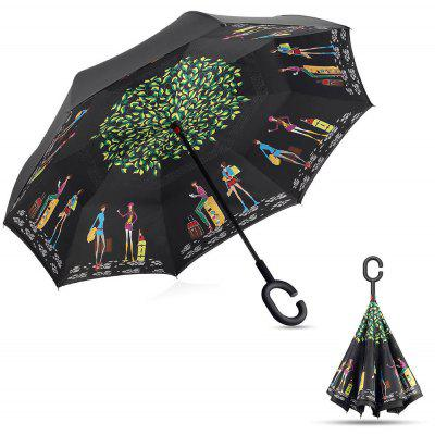 Buy COLORMIX Urban Lifestyle Print Windproof Inverted Double-layer Umbrella for $15.98 in GearBest store