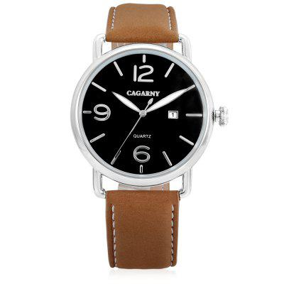 CAGARNY 6815 Quartz Men WatchMens Watches<br>CAGARNY 6815 Quartz Men Watch<br><br>Band material: Leather<br>Band size: 21.5 x 1.6cm<br>Brand: Cagarny<br>Case material: Alloy<br>Clasp type: Pin buckle<br>Dial size: 4.4 x 4.4 x 1cm<br>Display type: Analog<br>Movement type: Quartz watch<br>Package Contents: 1 x Watch, 1 x Box<br>Package size (L x W x H): 36.90 x 12.40 x 8.50 cm / 14.53 x 4.88 x 3.35 inches<br>Package weight: 0.1400 kg<br>Product size (L x W x H): 25.90 x 4.40 x 1.00 cm / 10.2 x 1.73 x 0.39 inches<br>Product weight: 0.0470 kg<br>Shape of the dial: Round<br>Watch style: Business, Casual<br>Watches categories: Men<br>Water resistance : Life water resistant<br>Wearable length: 23.6 - 19.3cm