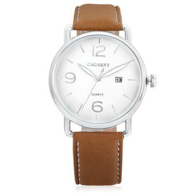 CAGARNY 6815 Quartz Men WatchMens Watches<br>CAGARNY 6815 Quartz Men Watch<br><br>Band material: Leather<br>Band size: 21.5 x 1.6cm<br>Brand: Cagarny<br>Case material: Alloy<br>Clasp type: Pin buckle<br>Dial size: 4.4 x 4.4 x 1cm<br>Display type: Analog<br>Movement type: Quartz watch<br>Package Contents: 1 x Watch, 1 x Box<br>Package size (L x W x H): 36.90 x 12.40 x 8.50 cm / 14.53 x 4.88 x 3.35 inches<br>Package weight: 0.1400 kg<br>Product size (L x W x H): 25.90 x 4.40 x 1.00 cm / 10.2 x 1.73 x 0.39 inches<br>Product weight: 0.0480 kg<br>Shape of the dial: Round<br>Watch style: Business, Casual<br>Watches categories: Men<br>Water resistance : Life water resistant<br>Wearable length: 23.6 - 19.3cm