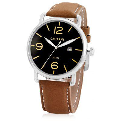 CAGARNY 6815 Quartz Men Watch with Leather Band