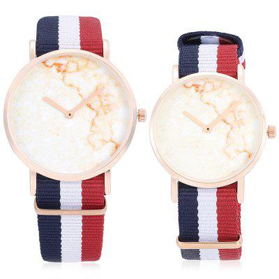 CAGARNY Nylon Band  Couple WatchesCouples Watches<br>CAGARNY Nylon Band  Couple Watches<br><br>Band material: Nylon<br>Brand: Cagarny<br>Case material: Alloy<br>Clasp type: Pin buckle<br>Display type: Analog<br>Movement type: Quartz watch<br>Package Contents: 1 x Couple Watches, 1 x Box<br>Package size (L x W x H): 11.00 x 8.00 x 7.50 cm / 4.33 x 3.15 x 2.95 inches<br>Package weight: 0.1600 kg<br>Shape of the dial: Round<br>The female dial dimension (L x W x H): 3.6 x 3.6 x 0.7cm<br>The female size (L x W x H): 24 x 3.6 x 0.7cm<br>The female watch band dimension (L x W): 20.4 x 1.8cm<br>The female watch weight: 0.028kg<br>The male dial dimension (L x W x H): 4 x 4 x 0.8cm<br>The male watch band dimension (L x W): 21.5 x 2cm<br>The male watch size (L x W x H): 25.5 x 4 x 0.8cm<br>The male watch weight: 0.032kg<br>Watch style: Fashion, Casual<br>Watches categories: Couple tables<br>Water resistance : Life water resistant