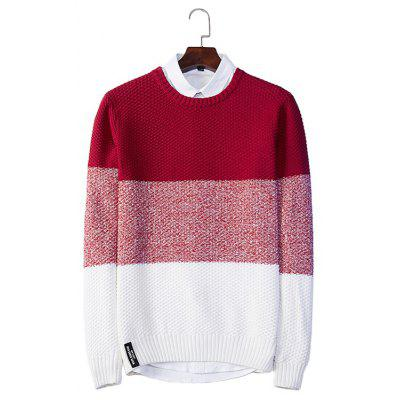 Gestrickte Farbe Matching Crew Neck Pullover
