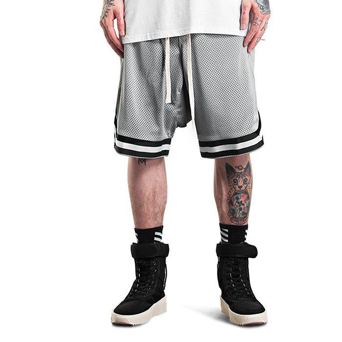 Male Retro Basketball Side Pockets Zipper Drop Crotch Meshed Up Sports Shorts