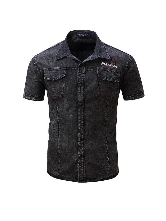 Camisa masculina Slim Fit Short Sleeve Denim