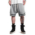 Male Retro Basketball Side Pockets Zipper Drop Crotch Meshed Up Sports Shorts - GRAY