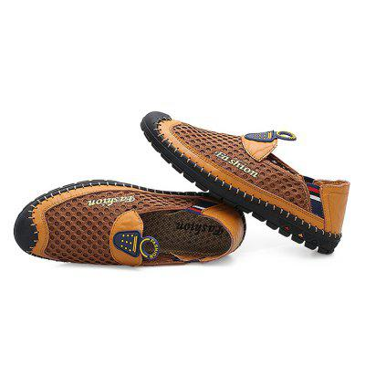Male Casual Slip On Mesh Soft Flat Leather ShoesCasual Shoes<br>Male Casual Slip On Mesh Soft Flat Leather Shoes<br><br>Closure Type: Slip-On<br>Color: Brown<br>Contents: 1 x Pair of Shoes<br>Function: Slip Resistant<br>Materials: Rubber, Mesh, Genuine Leather<br>Occasion: Shopping, Outdoor Clothing, Daily, Casual, Holiday<br>Outsole Material: Rubber<br>Package Size ( L x W x H ): 33.00 x 22.00 x 11.00 cm / 12.99 x 8.66 x 4.33 inches<br>Package Weights: 0.87kg<br>Pattern Type: Stripe, Letter<br>Seasons: Autumn,Spring,Summer<br>Style: Modern, Leisure, Fashion, Comfortable, Casual<br>Toe Shape: Round Toe<br>Type: Casual Leather Shoes<br>Upper Material: Genuine Leather,Mesh