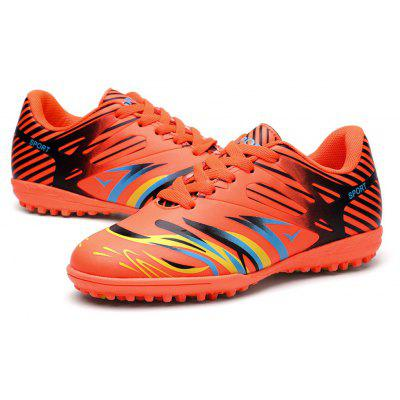 Male Bright Color Striped Spike Leather Soccer Sneakers