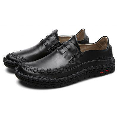 Male Stylish Casual Solid Color Slip On Soft Oxford Shoes