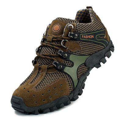 Male Breathable Anti Slip Outdoor Hiking SneakersMen's Sneakers<br>Male Breathable Anti Slip Outdoor Hiking Sneakers<br><br>Closure Type: Lace-Up<br>Contents: 1 x Pair of Shoes<br>Decoration: Split Joint<br>Function: Slip Resistant<br>Materials: Mesh, Rubber, Leather<br>Occasion: Sports, Outdoor Clothing, Holiday, Daily, Casual<br>Outsole Material: Rubber<br>Package Size ( L x W x H ): 33.00 x 22.00 x 11.00 cm / 12.99 x 8.66 x 4.33 inches<br>Package Weights: 0.97kg<br>Seasons: Autumn,Spring<br>Style: Modern, Leisure, Fashion, Comfortable, Casual<br>Toe Shape: Round Toe<br>Type: Hiking Shoes<br>Upper Material: Leather,Mesh