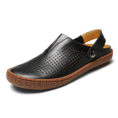 Male Casual Breathable Hollow Slip On Leather SandalsMens Sandals<br>Male Casual Breathable Hollow Slip On Leather Sandals<br><br>Closure Type: Slip-On<br>Contents: 1 x Pair of Shoes<br>Decoration: Hollow Out<br>Function: Slip Resistant<br>Materials: Rubber, Leather<br>Occasion: Tea Party, Party, Holiday, Casual, Beach, Shopping<br>Outsole Material: Rubber<br>Package Size ( L x W x H ): 33.00 x 22.00 x 11.00 cm / 12.99 x 8.66 x 4.33 inches<br>Package Weights: 0.92kg<br>Pattern Type: Solid<br>Seasons: Summer<br>Style: Modern, Leisure, Fashion, Comfortable, Casual<br>Toe Shape: Round Toe<br>Type: Sandals<br>Upper Material: Leather