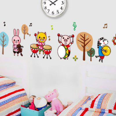DSU Animals Band Removable StickerWall Stickers<br>DSU Animals Band Removable Sticker<br><br>Brand: DSU<br>Function: Decorative Wall Sticker<br>Material: Vinyl(PVC), Self-adhesive Plastic<br>Package Contents: 1 x Sticker<br>Package size (L x W x H): 55.00 x 5.00 x 5.00 cm / 21.65 x 1.97 x 1.97 inches<br>Package weight: 0.1300 kg<br>Product size (L x W x H): 50.00 x 70.00 x 0.10 cm / 19.69 x 27.56 x 0.04 inches<br>Product weight: 0.0900 kg<br>Subjects: Animal<br>Suitable Space: Bedroom,Kids Room,Living Room<br>Type: Plane Wall Sticker