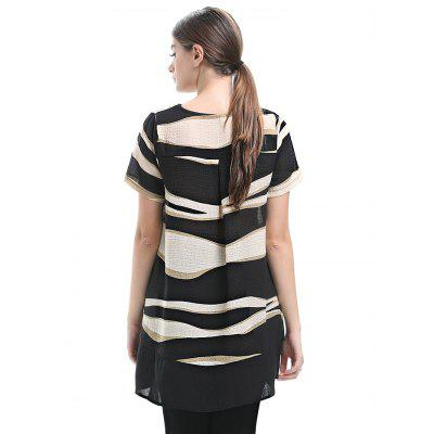 Women Splicing Chiffon BlouseTees<br>Women Splicing Chiffon Blouse<br><br>Clothing Length: Long<br>Collar: Round Neck<br>Elasticity: Micro-elastic<br>Material: Chiffon<br>Package Contents: 1 x Women Blouse<br>Package size: 35.00 x 28.00 x 2.00 cm / 13.78 x 11.02 x 0.79 inches<br>Package weight: 0.2500 kg<br>Product weight: 0.2100 kg<br>Sleeve Length: Short Sleeves<br>Style: Casual
