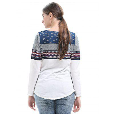 Women Long-sleeved Splicing T-shirtTees<br>Women Long-sleeved Splicing T-shirt<br><br>Collar: Round Collar<br>Elasticity: Elastic<br>Material: Cotton, Polyester<br>Package Contents: 1 x T-shirt<br>Package size: 35.00 x 28.00 x 2.00 cm / 13.78 x 11.02 x 0.79 inches<br>Package weight: 0.2200 kg<br>Product weight: 0.2000 kg<br>Season: Spring, Fall<br>Sleeve Length: Long Sleeves<br>Style: Casual