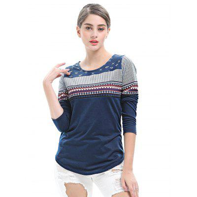 Women Long-sleeved Splicing T-shirtTees<br>Women Long-sleeved Splicing T-shirt<br><br>Collar: Round Collar<br>Elasticity: Elastic<br>Material: Cotton, Polyester<br>Package Contents: 1 x T-shirt<br>Package size: 35.00 x 28.00 x 2.00 cm / 13.78 x 11.02 x 0.79 inches<br>Package weight: 0.2400 kg<br>Product weight: 0.2000 kg<br>Season: Spring, Fall<br>Sleeve Length: Long Sleeves<br>Style: Casual