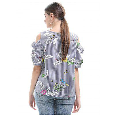 Floral Printing Striped Women T-shirtBlouses<br>Floral Printing Striped Women T-shirt<br><br>Collar: Round Collar<br>Elasticity: Micro-elastic<br>Material: Cotton, Polyester<br>Package Content: 1 x T-shirt<br>Package size (L x W x H): 35.00 x 28.00 x 2.00 cm / 13.78 x 11.02 x 0.79 inches<br>Package weight: 0.2200 kg<br>Pattern Type: Stripe, Floral<br>Product weight: 0.1800 kg<br>Season: Summer<br>Shirt Length: Regular<br>Sleeve Length: Half Sleeves<br>Sleeve Type: Cold Shoulder<br>Style: Fashion