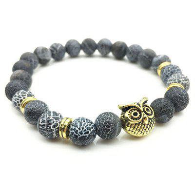 Pulseira Unisex Weathering Agate Owl Beads