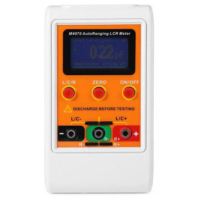M4070 Auto Ranging LCR Meter Component TesterMultimeters &amp; Fitting<br>M4070 Auto Ranging LCR Meter Component Tester<br><br>Backlit Display: Yes<br>LCD screen size : 5.2 x 2.8cm<br>Max. Display: 5 Digits<br>Model: M4070<br>Operation Method: Auto Range<br>Package Contents: 1 x M4070 LCR Meter, 1 x English / Chinese User Manual, 1 x USB Cable ( 75cm ), 2 x Test Clip<br>Package size (L x W x H): 19.00 x 13.50 x 4.30 cm / 7.48 x 5.31 x 1.69 inches<br>Package weight: 0.3940 kg<br>Product size (L x W x H): 17.00 x 9.50 x 3.00 cm / 6.69 x 3.74 x 1.18 inches<br>Product weight: 0.3220 kg<br>Type: LCR Meter