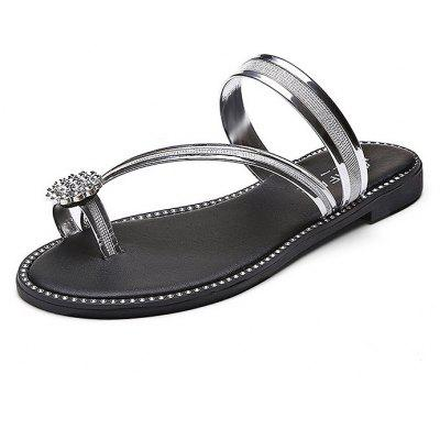 Rhinestone Clip Toe Women Slippers