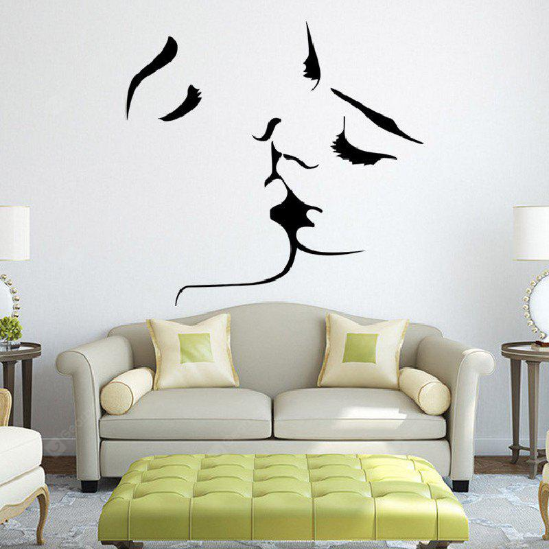 Creative Household Decorative Cheek Line Wall Sticker BLACK