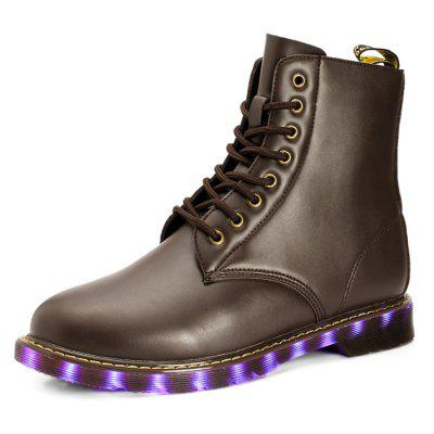 Male Stylish Solid Color Lace Up LED Fluorescent BootsMens Boots<br>Male Stylish Solid Color Lace Up LED Fluorescent Boots<br><br>Closure Type: Lace-Up<br>Contents: 1 x Pair of Shoes<br>Function: Slip Resistant<br>Materials: Rubber, PU<br>Occasion: Tea Party, Shopping, Office, Holiday, Daily, Casual, Party<br>Outsole Material: Rubber<br>Package Size ( L x W x H ): 31.00 x 21.00 x 11.00 cm / 12.2 x 8.27 x 4.33 inches<br>Package Weights: 1.27kg<br>Pattern Type: Solid<br>Seasons: Autumn,Spring<br>Style: Modern, Leisure, Fashion, Comfortable, Casual<br>Toe Shape: Round Toe<br>Type: Boots<br>Upper Material: PU