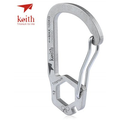Keith Ti1153 Titanium Carabiner Key Chain Spoke / Hex Wrench