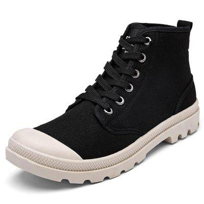 Male Stylish Solid Color Canvas High Top Leisure ShoesCasual Shoes<br>Male Stylish Solid Color Canvas High Top Leisure Shoes<br><br>Closure Type: Lace-Up<br>Contents: 1 x Pair of Shoes<br>Function: Slip Resistant<br>Materials: Rubber, Canvas<br>Occasion: Tea Party, Shopping, Outdoor Clothing, Office, Party, Casual, Daily, Holiday<br>Outsole Material: Rubber<br>Package Size ( L x W x H ): 33.00 x 22.00 x 11.00 cm / 12.99 x 8.66 x 4.33 inches<br>Package Weights: 0.87kg<br>Pattern Type: Solid<br>Seasons: Autumn,Spring<br>Style: Modern, Leisure, Fashion, Comfortable, Casual<br>Toe Shape: Round Toe<br>Type: Casual Shoes<br>Upper Material: Canvas