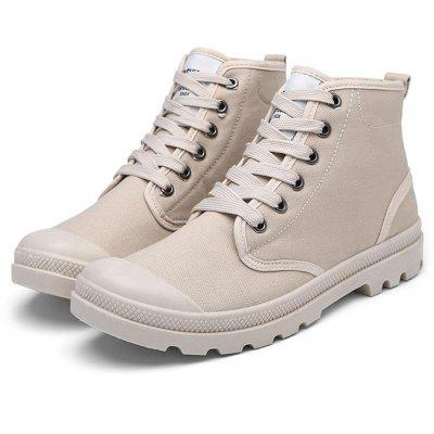 Masculino Stylish Solid Color Canvas High Top Shoes Casual