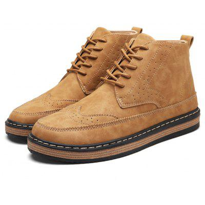 Male Breathable Soft Lace Up Medium Top Retro Leather Shoes