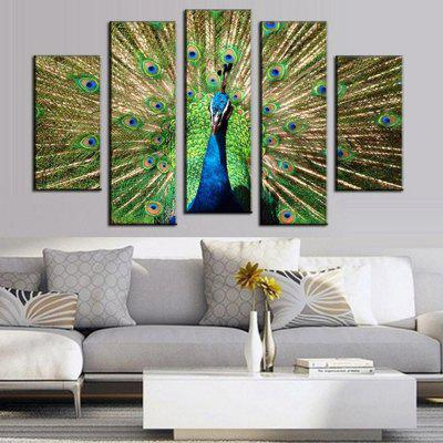 5PCS Printed Peacock Painting Canvas Print Room Decor