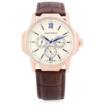 Sancybirds FY9813IW Casual Leather Band Men Watch