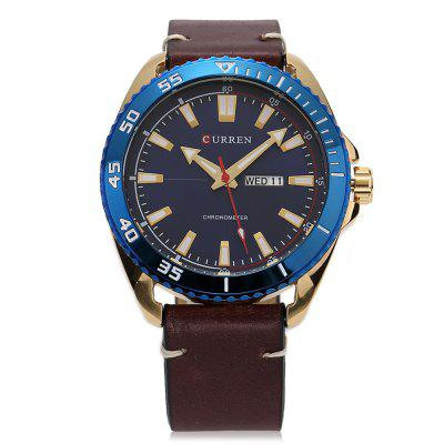 CURREN Men Leather Band Quartz WatchMens Watches<br>CURREN Men Leather Band Quartz Watch<br><br>Band material: Leather<br>Band size: 25 x 2.2cm<br>Brand: Curren<br>Case material: Alloy<br>Clasp type: Pin buckle<br>Dial size: 4.4 x 4.4 x 1.2cm<br>Display type: Analog<br>Movement type: Quartz watch<br>Package Contents: 1 x Watch, 1 x Box<br>Package size (L x W x H): 11.50 x 8.40 x 6.80 cm / 4.53 x 3.31 x 2.68 inches<br>Package weight: 0.2110 kg<br>Product size (L x W x H): 25.00 x 4.40 x 1.20 cm / 9.84 x 1.73 x 0.47 inches<br>Product weight: 0.0800 kg<br>Shape of the dial: Round<br>Watch mirror: Acrylic<br>Watch style: Fashion<br>Watches categories: Men