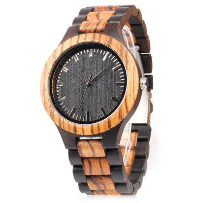 BOBO BIRD Men Simple Wood Band Quartz Watch