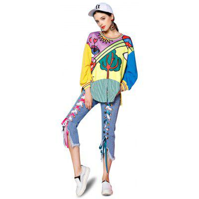Feminino Loose Cartoon Printed Pattern Hoodie