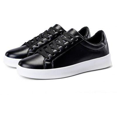 Male Simple Solid Color Anti Slip Lace Up Flat Leisure Shoes