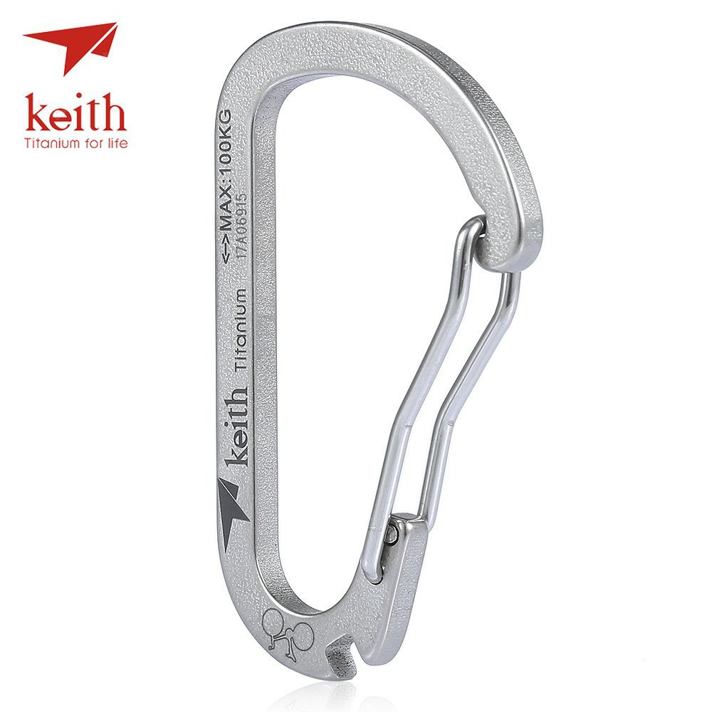Keith Ti1152 Titanium Carabiner Key Chain with Spoke Wrench