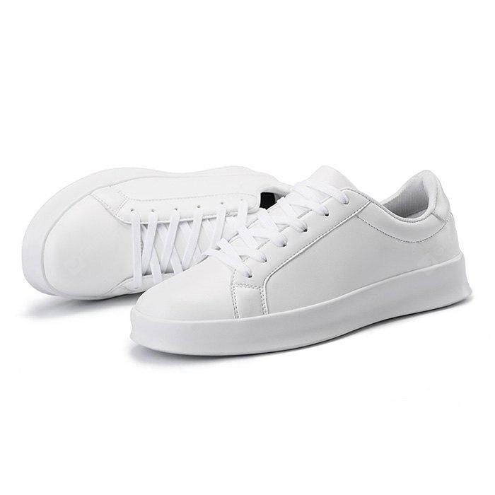 WHITE Male Simple Solid Color Anti Slip Lace Up Flat Leisure Shoes