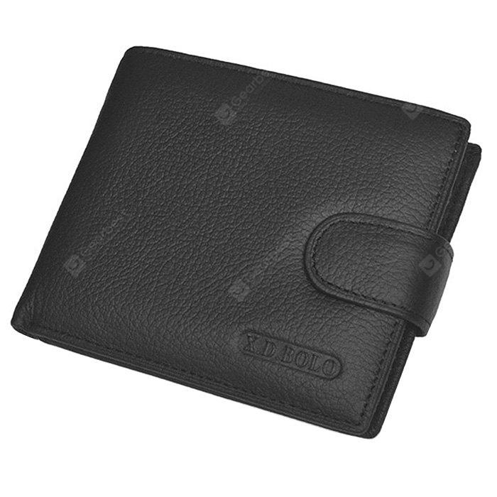 Carteira Retro Bifold Leather Men com fivela