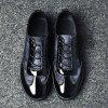 Male Fashional Casual Anti Slip Printed Lace Up Patent Leather Shoes - BLUE AND BLACK