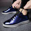 Masculino Casual Soft Anti Slip Pattern Glossy Leather Shoes - AZUL