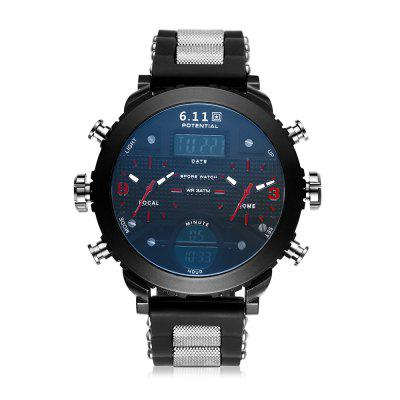 6.11 8159B Creative Dual Time Zone Male WatchMens Watches<br>6.11 8159B Creative Dual Time Zone Male Watch<br><br>Band material: Silicone<br>Band size: 24 x 2m<br>Brand: 6.11<br>Case material: Alloy<br>Clasp type: Pin buckle<br>Dial size: 5 x 5 x 1.2cm<br>Display type: Analog-Digital<br>Movement type: Quartz + digital watch<br>Package Contents: 1 x Watch<br>Package size (L x W x H): 26.00 x 7.00 x 3.20 cm / 10.24 x 2.76 x 1.26 inches<br>Package weight: 0.1900 kg<br>Product size (L x W x H): 24.00 x 5.00 x 1.20 cm / 9.45 x 1.97 x 0.47 inches<br>Product weight: 0.1500 kg<br>Shape of the dial: Round<br>Watch mirror: Acrylic<br>Watch style: Fashion<br>Watches categories: Men<br>Water resistance : 30 meters
