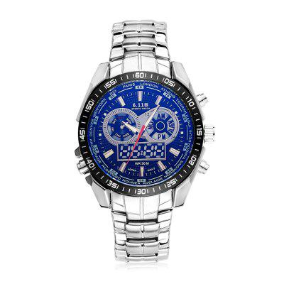 6.11 F633G Water Resistant Luminous Military Men WatchMens Watches<br>6.11 F633G Water Resistant Luminous Military Men Watch<br><br>Band material: Stainless Steel<br>Band size: 24 x 2cm<br>Brand: 6.11<br>Case material: Alloy<br>Clasp type: Butterfly clasp<br>Dial size: 4.2 x 4.2 x 1.4cm<br>Display type: Analog-Digital<br>Movement type: Quartz + digital watch<br>Package Contents: 1 x Watch<br>Package size (L x W x H): 26.00 x 6.20 x 3.40 cm / 10.24 x 2.44 x 1.34 inches<br>Package weight: 0.2200 kg<br>Product size (L x W x H): 24.00 x 4.20 x 1.40 cm / 9.45 x 1.65 x 0.55 inches<br>Product weight: 0.1800 kg<br>Shape of the dial: Round<br>Watch mirror: Acrylic<br>Watch style: Fashion<br>Watches categories: Men<br>Water resistance : 30 meters
