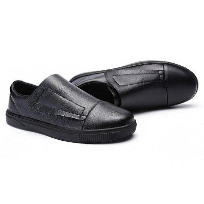 Male Simple Casual Soft Flat Slip On Leather Shoes