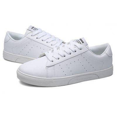 Buy WHITE Male Casual Breathable Anti Slip Flat Leather Sneakers for $29.09 in GearBest store