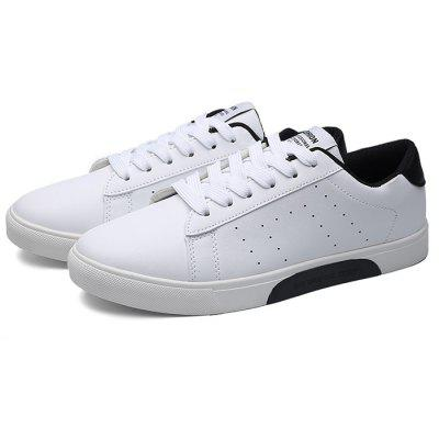 Buy BLACK WHITE Male Casual Breathable Anti Slip Flat Leather Sneakers for $29.09 in GearBest store