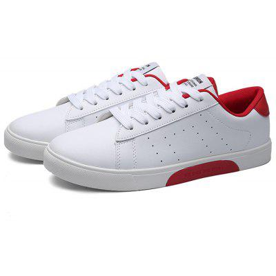 Buy RED WITH WHITE Male Casual Breathable Anti Slip Flat Leather Sneakers for $29.09 in GearBest store
