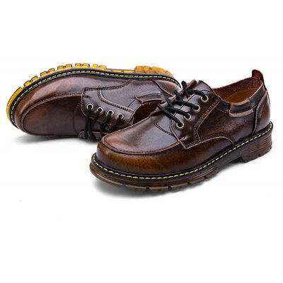 Modern Business Casual Soft Anti Slip Lace Up Leather Martin Shoes