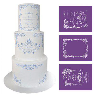 AK 3pcs Retro Vines Wedding Cake Edge Decoration Mold