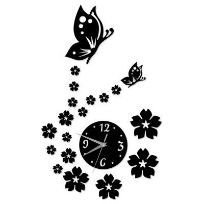 Creative Stereoscopic Black Decal Clock Removable Wall Sticker Home Decoration