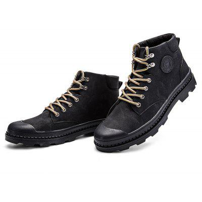 Modern Leisure Soft Anti Slip High Top Lace Up Leather Martin Boots